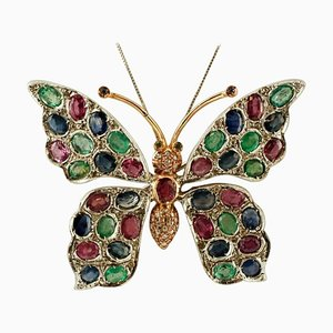 Diamond, Ruby, Emerald, and Blue Sapphire 9k Rose Gold and Silver Butterfly Brooch or Pendant