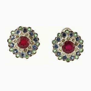 Central Ruby, Diamonds, Sapphires, Emeralds and 14K White Gold Stud Earrings, Set of 2