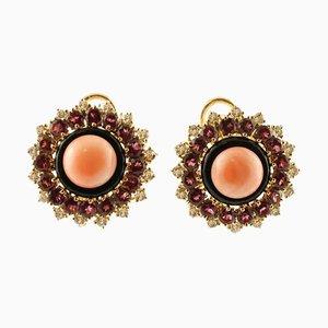 Diamonds, Tourmaline, Onyx, Coral and 14K Yellow Gold Stud Earrings, Set of 2