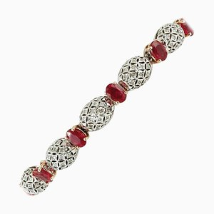 Rubies and Diamonds Vintage Bracelet in 14K White & Yellow Gold