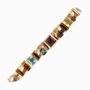 Bracciale in oro giallo 14k con diamanti, ametista e topazio