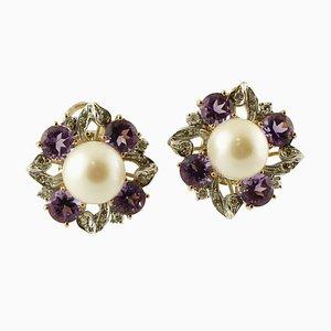 Boucles d'Oreilles Diamants, Perles des Mers du Sud, Pierres Dures et Or Blanc et Jaune 14K, Set de 2