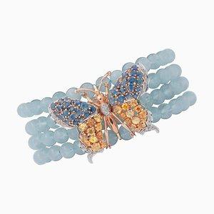Bracciale in oro bianco e rosa 14k con perle di acquamarina, diamanti e zaffiri colorati