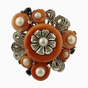 Diamond, Sapphire, Coral, & Pearl 14k White Gold Ring