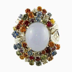 Diamanten, Rubine, Saphire, Chalcedon, 14K Weißgold Cocktail Ring