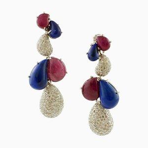 Hängeohrringe mit Diamanten, Rubinen und Lapislazuli, 2er Set