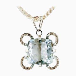 Blue Topaz, Diamond and 18k White Gold Pendant