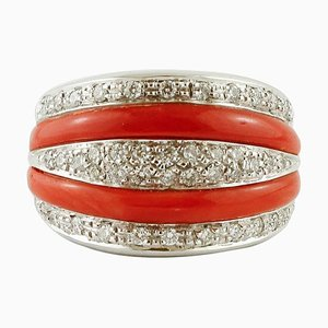 Diamonds, Coral and 18K White Gold Band Ring