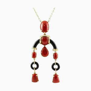 Handcrafted Diamond, Coral & Onyx 18 Karat Yellow Gold Pendant Necklace