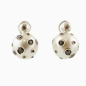 Tahiti Pearl, White and Black Diamond Earrings, Set of 2