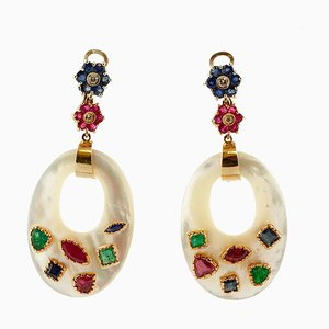 Mother-of-Pearl, Diamonds, Rubies, Emeralds, Sapphires Dangle Earrings, Set of 2