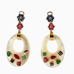Ohrringe aus Perlmutt, Diamanten, Rubinen, Smaragden, Saphiren, 2er Set