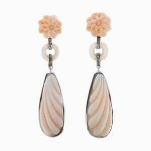 Rosa Korallenrote Blumen, Weiße Diamanten und Weißgold Ohrringe, 2er Set