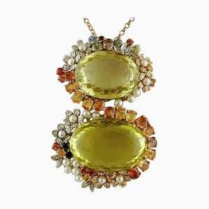 Citrine, Sapphires, Pearls, White & Rose Gold Retro Pendant