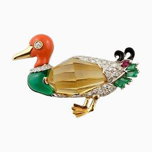 Duck Brooch by Roberto Legnazzi