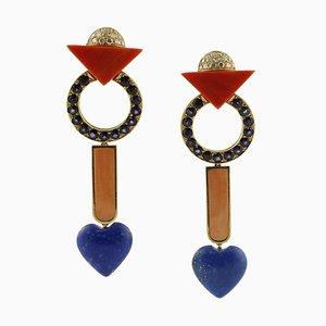 Diamonds, Red Coral, Blue Lapis, Blue Sapphires, 18 Karat Rose Gold Earrings, Set of 2