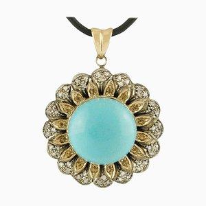 Pendentif Turquoise, Diamant et Topaze en Or Rose et Argent