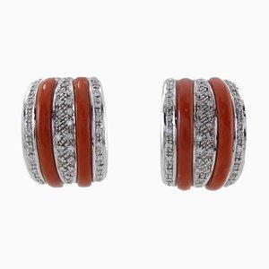 Ohrclips mit weißen Diamanten, roten Korallen und Weißgold, 2er Set