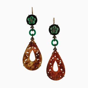 Green and Red Agate, Diamonds, 9 Karat Rose Gold and Silver Pendant Earrings, Set of 2