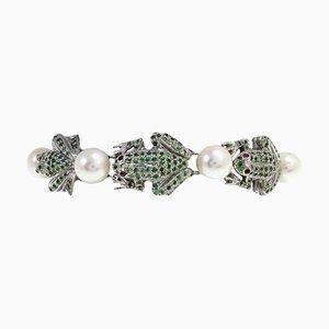 Tsavorite, Garnet & Pearl Silver Gold Link Bracelet