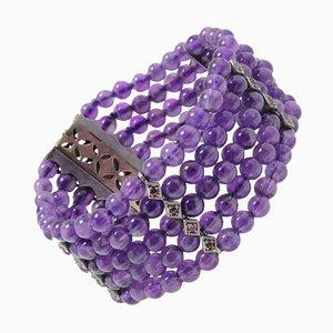 Amethyst Beads, Diamond & Ruby Gold Bracelet