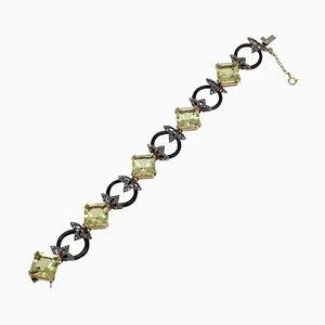 Diamanten Citrin Onyx Gold und Silber Gliederarmband