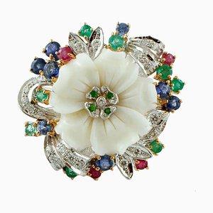 Diamond, Ruby, Emerald, Sapphire, Tsavorite, & White Coral 14 Karat Gold Ring