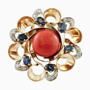 Sapphires, Diamonds, Coral, 14 Karat White and Rose Gold Ring