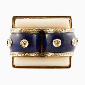 Lapis Lazuli, White Agate and Diamond Italian Style Ring
