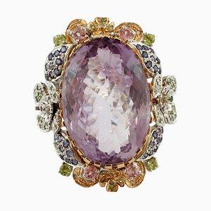 Amethyst, Diamond, Tourmaline, Tsavorite, & Iolite 14Kt White and Rose Gold Ring