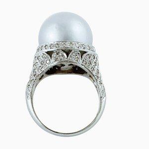 South Sea Grey Pearl & Diamond White Gold Ring