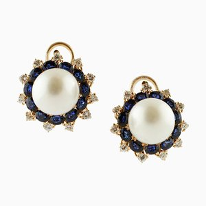 South Sea Pearls, Blue Sapphires, Diamonds, Yellow Gold Earrings, Set of 2