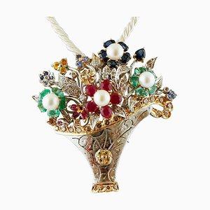 Diamond, Ruby, Emerald, Sapphire & Pearl Flower Basket Brooch or Pendant
