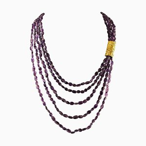 Amethyst Multi-Strand Beaded Necklace with 18 Karat Yellow Gold Closure