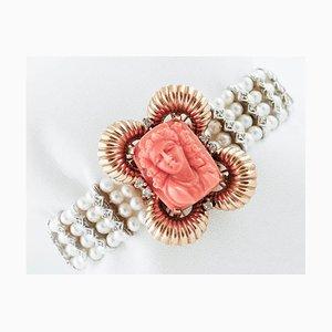 Braccialetto di perle con chiusura in oro e corallo