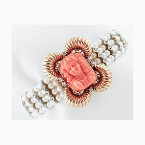 Pearl Bracelet with Gold and Coral Closure
