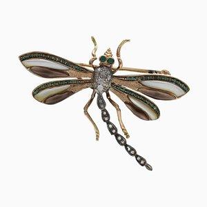 Libellen-Brosche oder Anhänger aus Perlmutt, Smaragd und Diamant