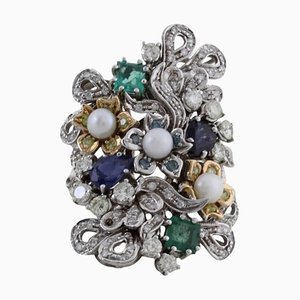 Diamond, Pearl & Precious Stone Gold Ring
