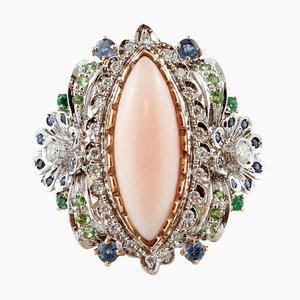 Diamant, Blauer Saphir, Smaragd, Tsavorit & amp; Rosa Korallenrosa und Weißgold Ring