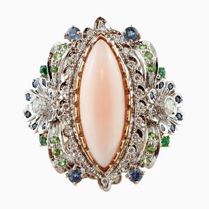 Diamond, Blue Sapphire, Emerald, Tsavorite & Pink Coral Rose and White Gold Ring