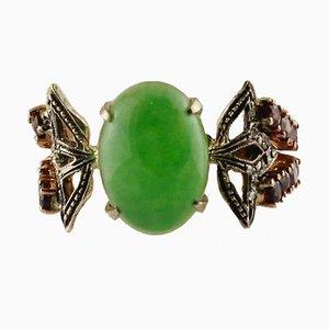 Turmaline Ring aus Jade, Diamant, Roségold und Silber
