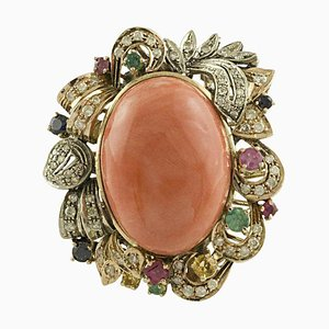 Diamond, Ruby, Emerald, Blue and Yellow Sapphires Coral Rose Gold Silver Ring