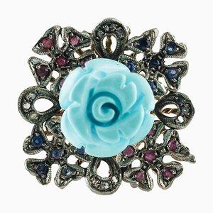 Diamant, Rubin, Blauer Saphir & Türkis Roségold und Silber Cluster Ring