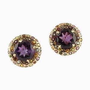 Amethyst, Diamonds, Garnet, Aquamarine, Rose Gold Earrings, Set of 2