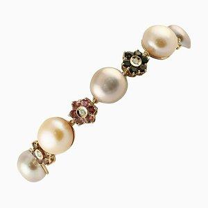 Braccialetto con diamanti, tormaline multicolori, perle rosa chiaro e viola