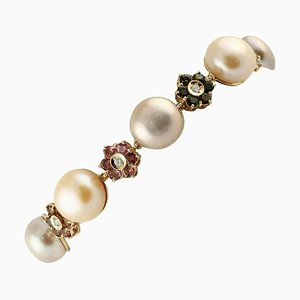 Diamonds, Multi-Color Tormalines, Light Pink-Violet Pearls and Rose Gold Link Bracelet