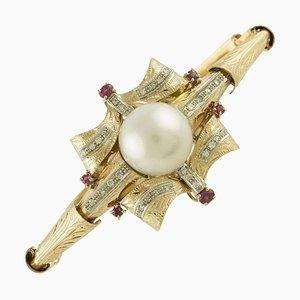 Diamant, Rubin & Perle Rose und Weißgold Armband