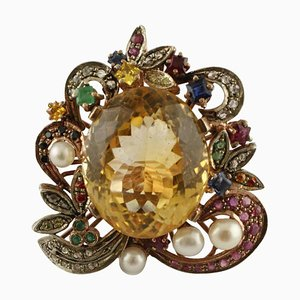 Central Yellow Topaz, Diamond, Emerald, Ruby & Little Pearl Ring