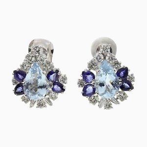 Weißgold, Diamanten, Aquamarin und Blauer Saphir Ohrringe, 2er Set