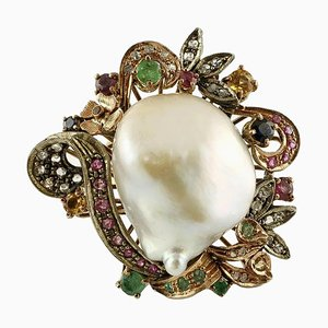 Baroque Pearl, Emeralds, Rubies, Sapphires, 9 Karat Gold and Silver Ring
